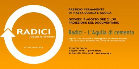 """proiezione documentario """"Radici - L'Aquila di cemento"""""""