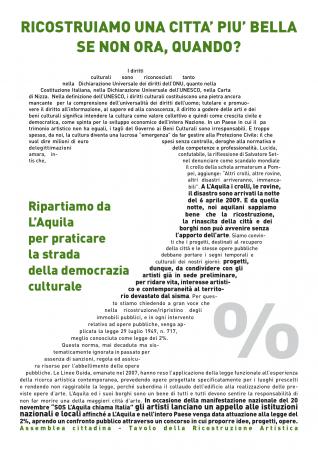 Comunicato stampa - ASSEMBLEA CITTADINA L'AQUILA TAVOLO RICOSTRUZIONE ARTISTICA
