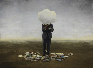 Untitled n. 233 (Cloud), 2010, di Teun Hocks Oil on toned gelatin silver print, cm 110x143