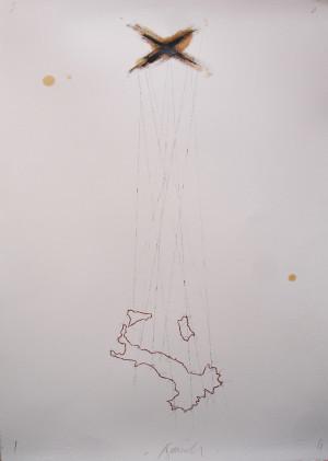 Sergio Nannicola - 'S.T. - 2014 - Stampa digitale e grafite su carta rosaspina 50X70 cm.
