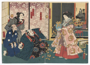 utagawa-kunisada-finto-miracolo-di-una-finta-sacerdotessa-1852